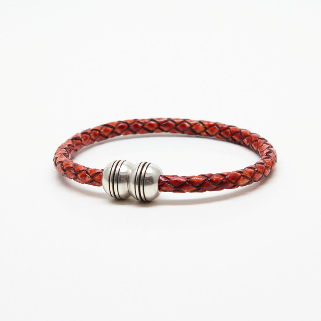 Braided Leather Hemisphere Bracelet Whiskey - Blue Lion Men's Apparel