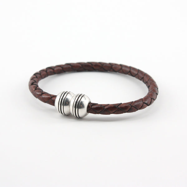 Braided Leather Hemisphere Bracelet Brown