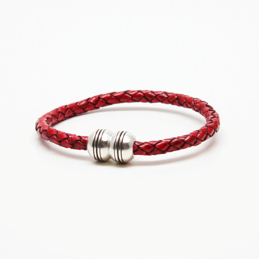 Braided Leather Hemisphere Bracelet Red - Blue Lion Men's Apparel