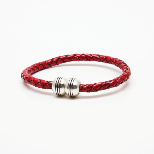 Braided Leather Hemisphere Bracelet Red