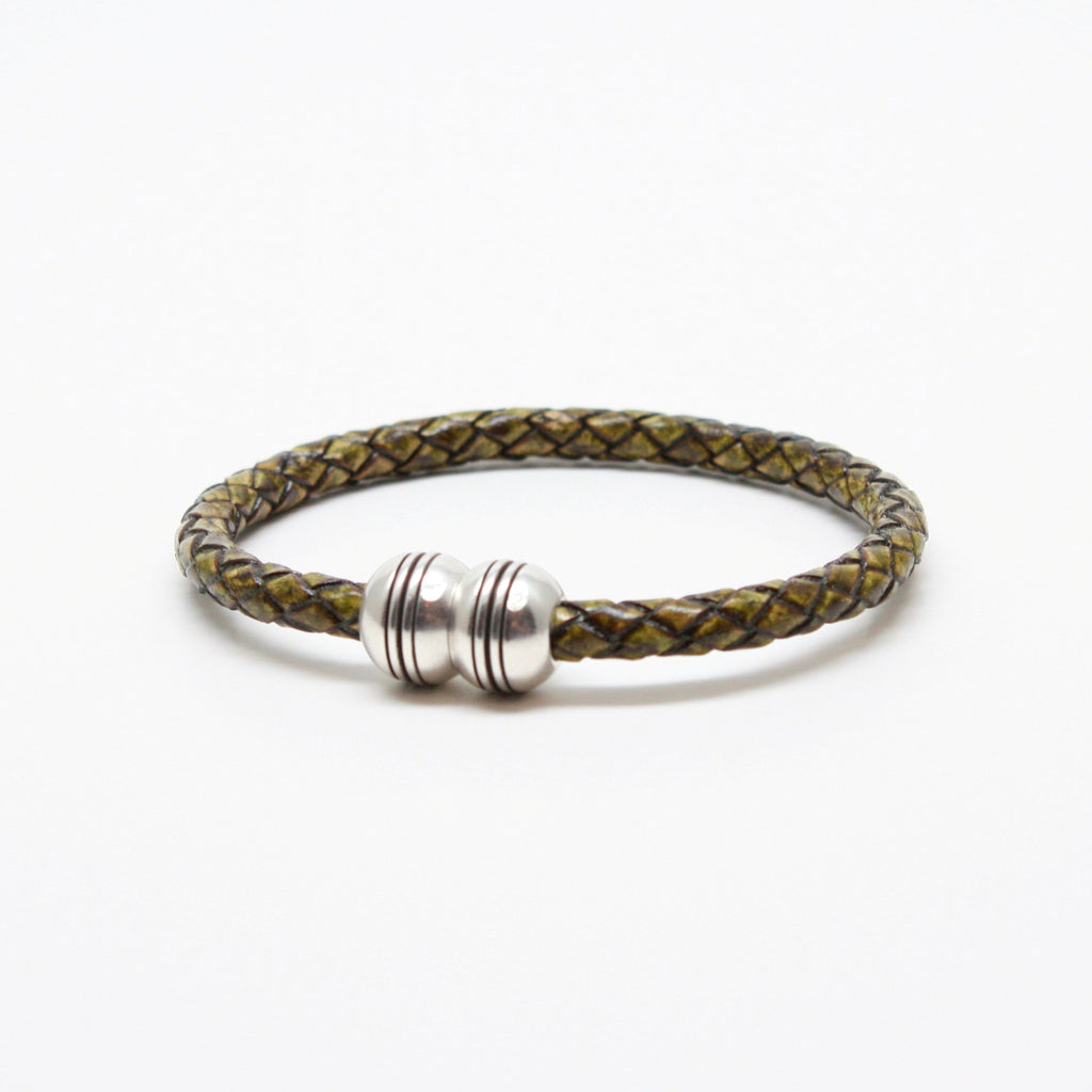 Braided Leather Hemisphere Bracelet Olive - Blue Lion Men's Apparel