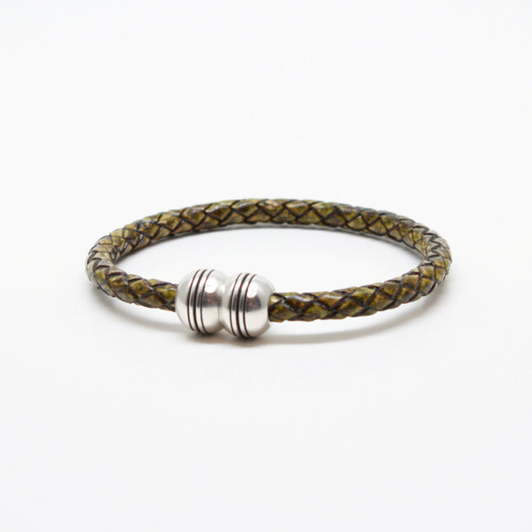 Braided Leather Hemisphere Bracelet Olive