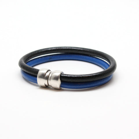 Genuine Leather Art Deco Double Tube Black/Blue