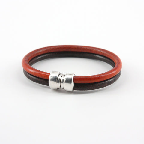 Genuine Leather Art Deco Double Tube Black/Orange