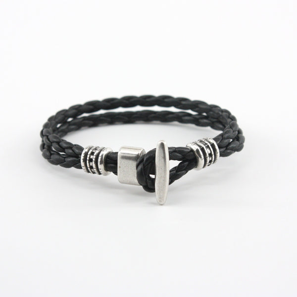 Braided Leather Phoenix Bracelet Black