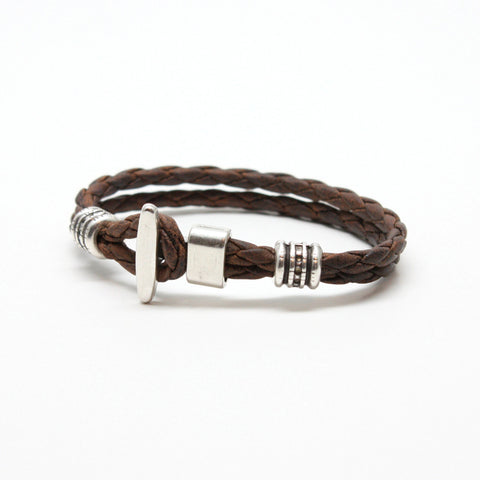 Braided Leather Phoenix Bracelet Vintage Brown