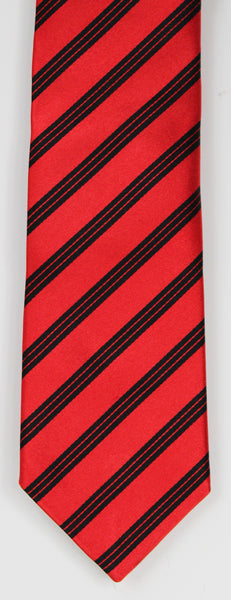 SERICA SILK RED/BLACK STRIPE TIE