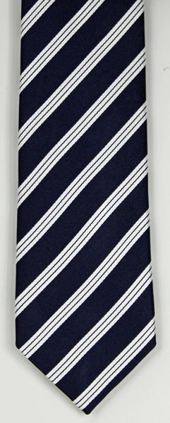 SERICA SILK NAVY/WHITE STRIPE TIE