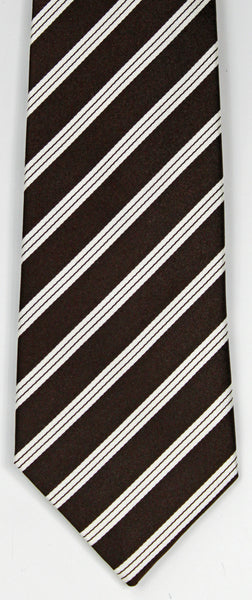 SERICA SILK BROWN/WHITE STRIPE TIE