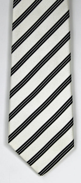 SERICA SILK WHITE/BLACK STRIPE TIE