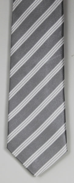 SERICA SILK GREY/WHITE STRIPE TIE