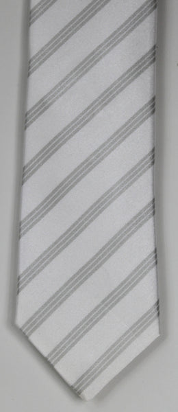 SERICA SILK MID GREY/WHITE STRIPE TIE