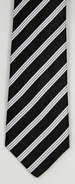SERICA SILK BLACK/WHITE STRIPE TIE