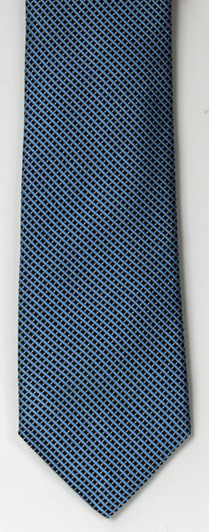 SERICA SILK MID BLUE/BLACK MICRO CHECK TIE
