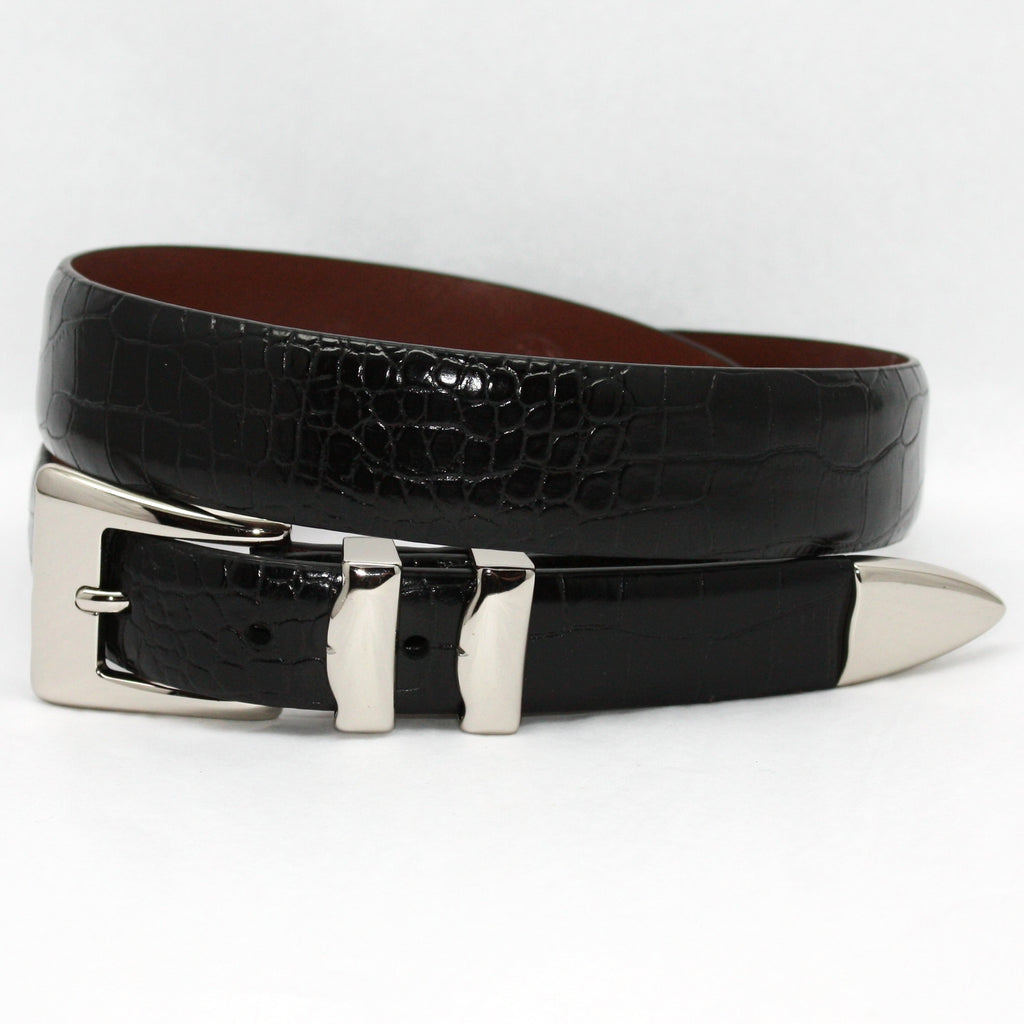 Alligator Embossed Calfskin Belt With 4pc Buckle Set Black 32-25MM Belt - Blue Lion Men's Apparel