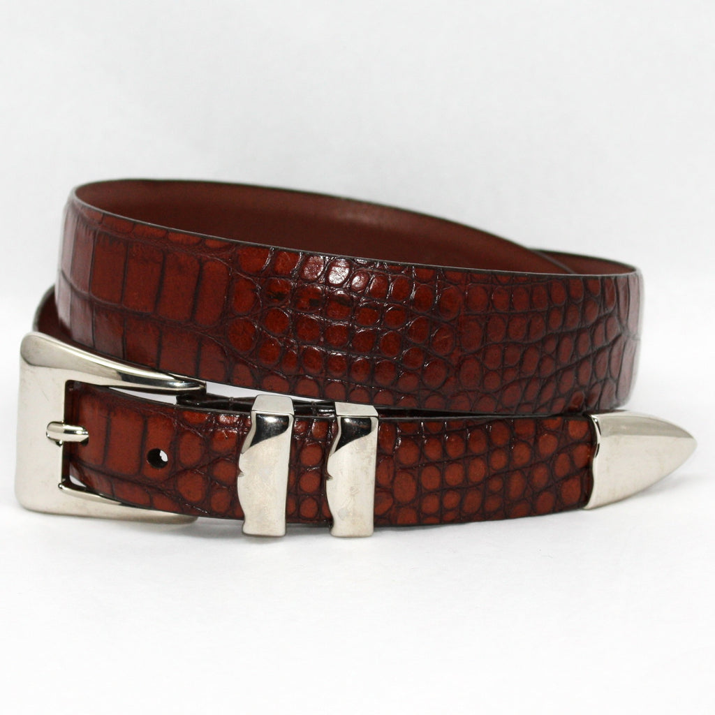 Alligator Embossed Calfskin Belt With 4pc Buckle Set Cognac 32-25MM Belt - Blue Lion Men's Apparel