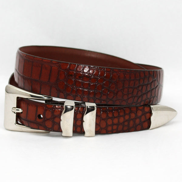 Alligator Embossed Calfskin Belt With 4pc Buckle Set Cognac 32-25MM Belt