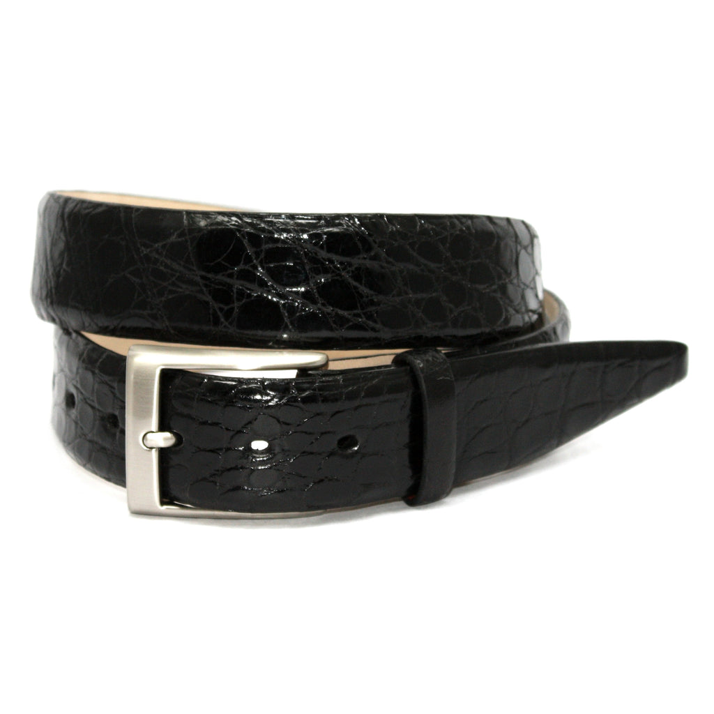 Glazed Caiman Black 35mm Belt - Blue Lion Men's Apparel