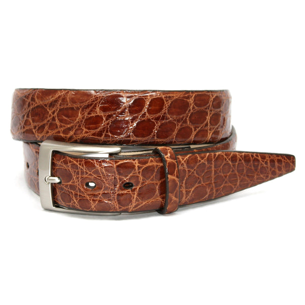 Glazed Caiman Cognac 35mm Belt