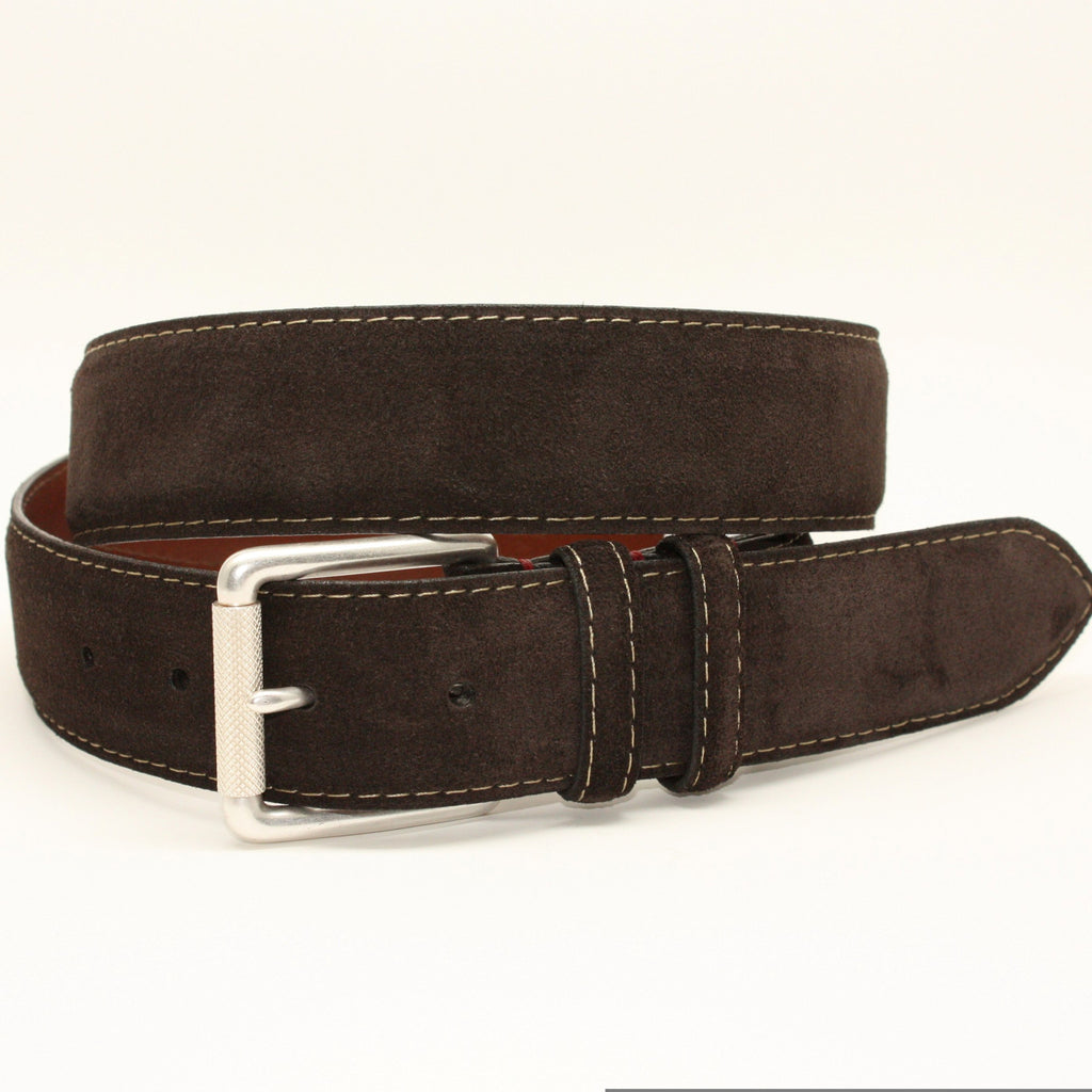 European Sueded Calfskin Brown 38mm Belt - Blue Lion Men's Apparel