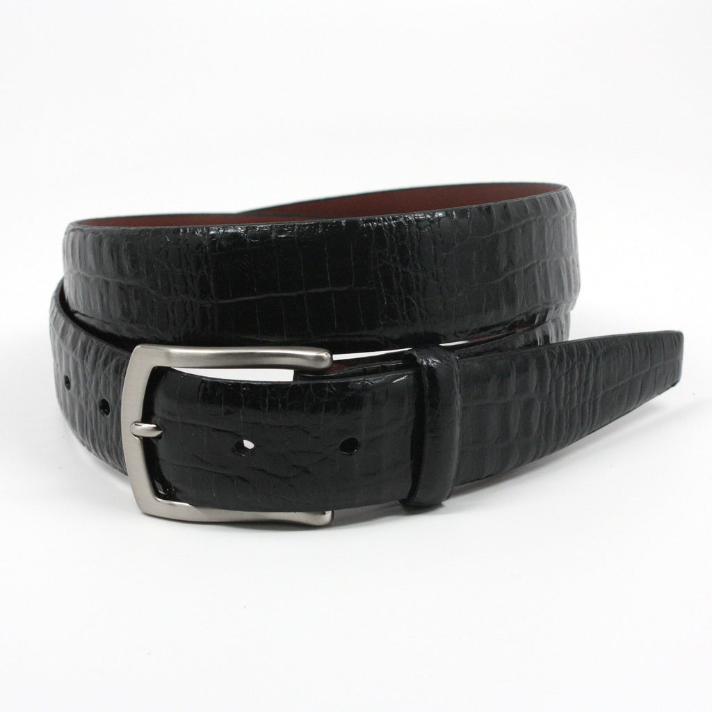Alligator Embossed Calfskin Black 35mm Belt - Blue Lion Men's Apparel