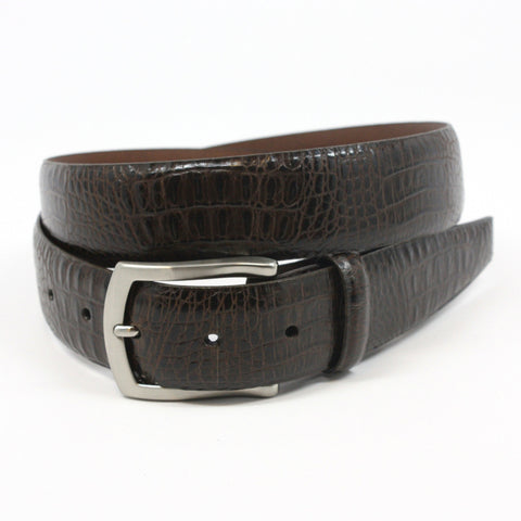 Alligator Embossed Calfskin Brown 35mm Belt