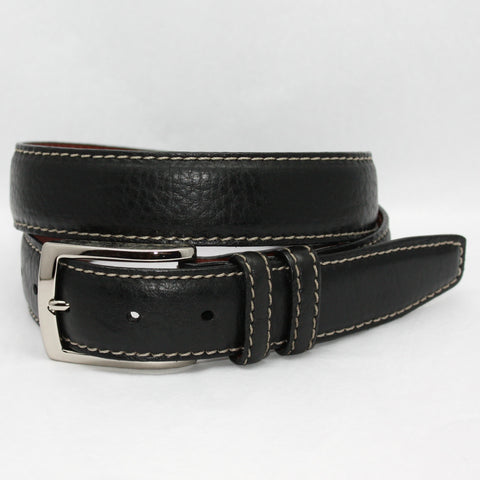 Bulgaro Calfskin Inlay With Kipskin Trim Black/Brown 35mm Belt