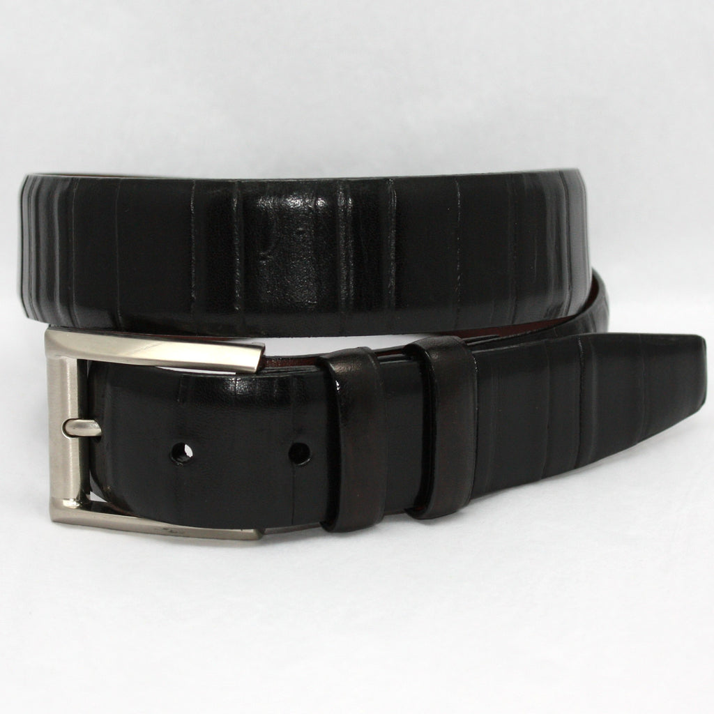 Italian Ribbed Kipskin Black 35mm Belt - Blue Lion Men's Apparel