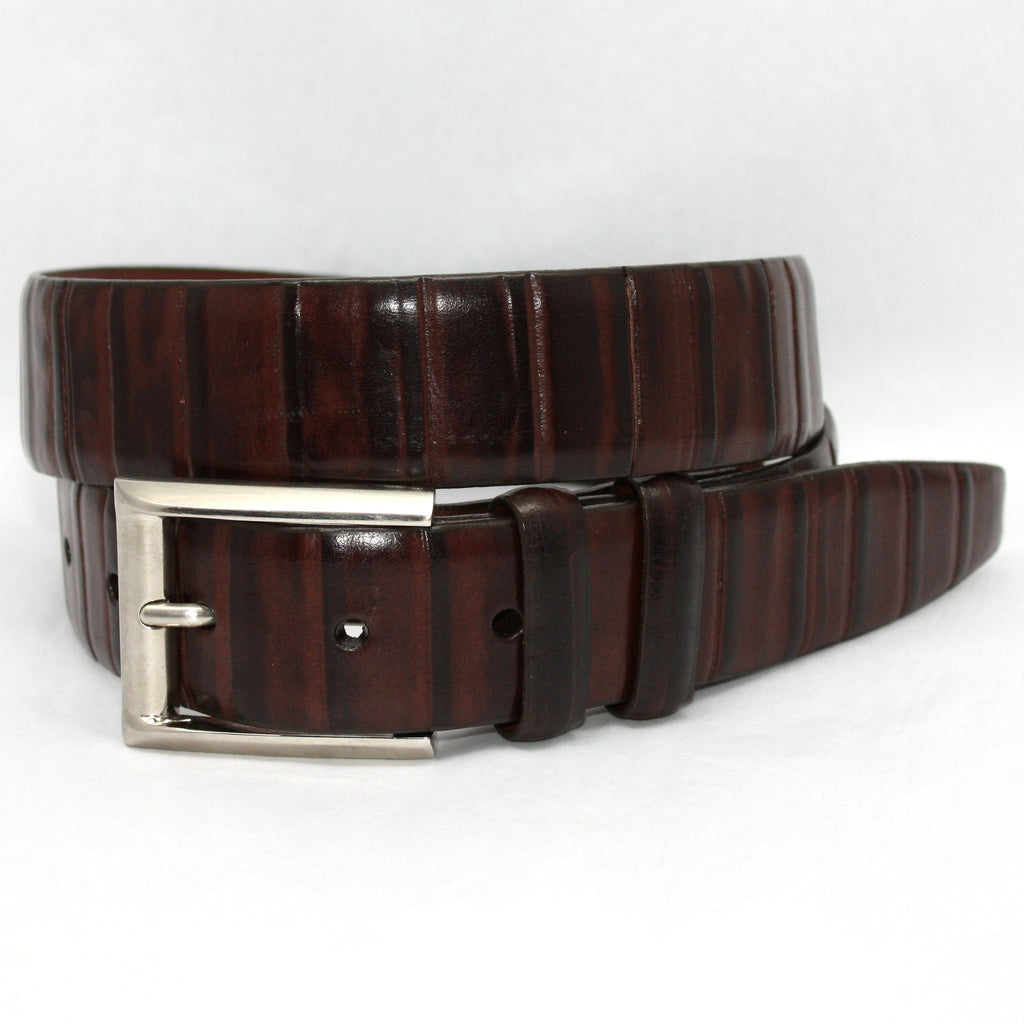 Italian Ribbed Kipskin Brown 35mm Belt - Blue Lion Men's Apparel