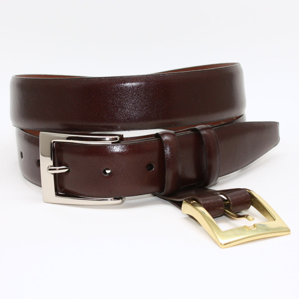 Italian Calfskin Double Buckle Brown 32mm Belt - Blue Lion Men's Apparel