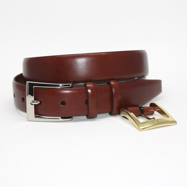 Italian Calfskin Double Buckle Cognac 32mm Belt