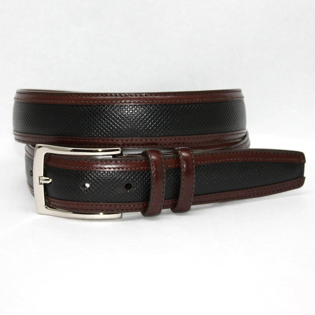 Bulgaro Calfskin Inlay With Kipskin Trim Black/Brown 35mm Belt - Blue Lion Men's Apparel