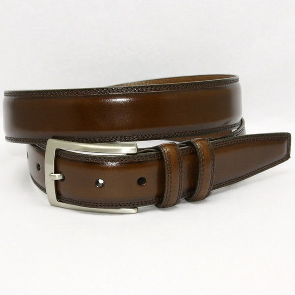 Handstained Italian Kipskin Brown 35mm Belt