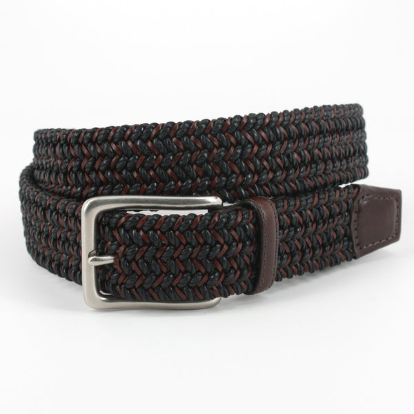 Italian Woven Cotton And Leather Black/Brown 35mm Belt