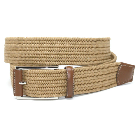 Italian Mini Woven Cotton Stretch Khaki 35mm Belt
