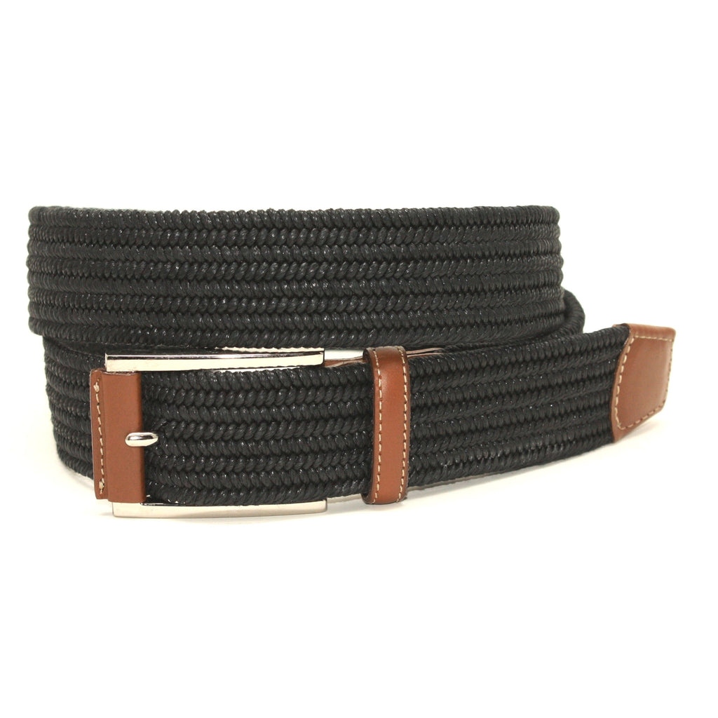 Italian Mini Woven Cotton Stretch Black 35mm Belt - Blue Lion Men's Apparel