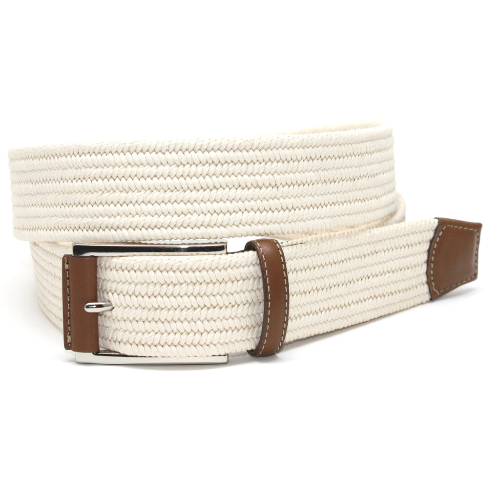 Italian Mini Woven Cotton Stretch Cream 35mm Belt - Blue Lion Men's Apparel