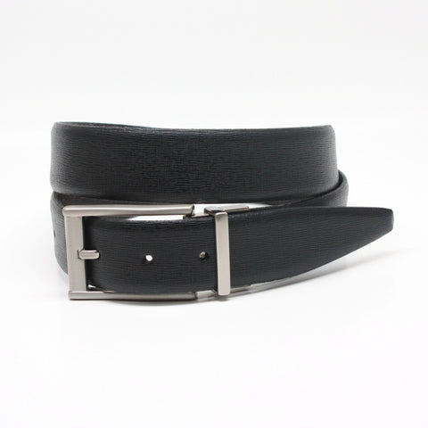 Saffiano Embossed Italian Leather Reversible Black/Brown 35mm Belt