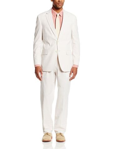 Palm Beach 'Original' Tan/White Seersucker Center-Vent Suit