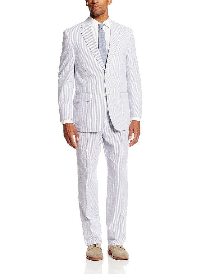 Palm Beach 'Original' Navy/White Seersucker Center-Vent Suit - Blue Lion Men's Apparel - 1