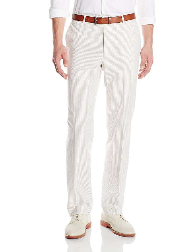 Palm Beach 'Original' Tan/White Seersucker Flat Front Pant - Blue Lion Men's Apparel - 1