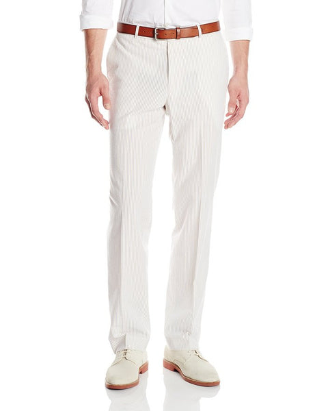 Palm Beach 'Original' Tan/White Seersucker Flat Front Pant
