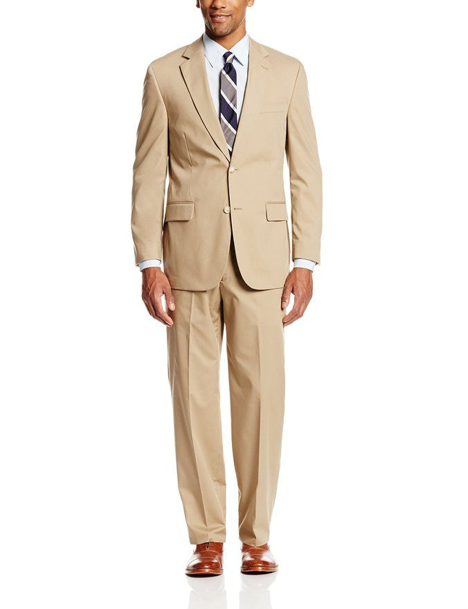 Palm Beach Boone Khaki Poplin Two-Button Center-Vent Suit - Blue Lion Men's Apparel - 1