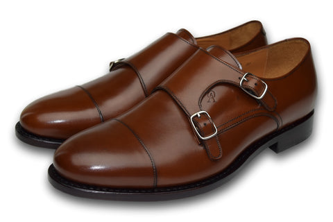 CHARLESTON DOUBLE MONK COGNAC BROWN