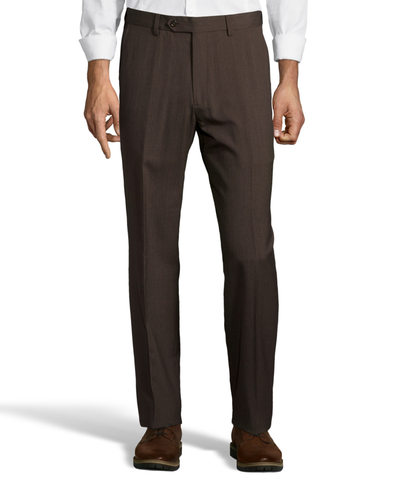 Palm Beach Wool/Poly Brown Flat Front Expander Pant Big And Tall