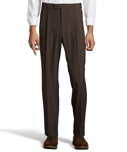 Palm Beach Wool/Poly Brown Pleated Expander Pant