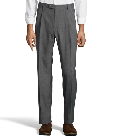 Palm Beach Wool/Poly Md Grey Pleated Expander Pant