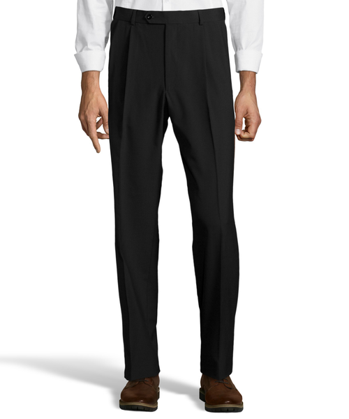 Palm Beach Wool/Poly Black Pleated Expander Pant