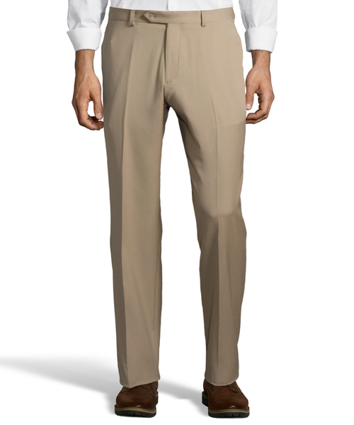 Palm Beach 100% Wool Gabardine Tan Flat Front Pant Big and Tall
