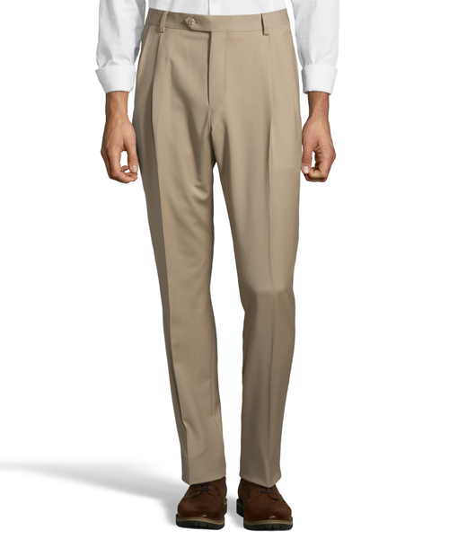 Palm Beach 100% Wool Gabardine Tan Pleated Pant